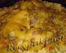 Курица запеченная с рисом в сливочном соусе