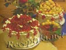Торт сливочный «Туесок с ягодами»