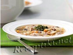 Французский куриный суп с грибами