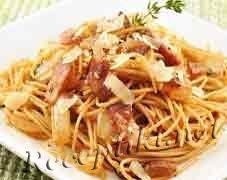 Спагетти с коньяком и ветчиной