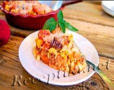 Запеканка из макарон с рубленой говядиной в молочно-яичном соусе