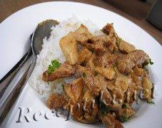 Бефстроганов из свинины с рисом