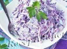 """Салат из красной капусты с колбасой и яйцами """"Пикантный"""""""