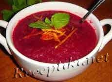 Свекольный суп-пюре с апельсинами