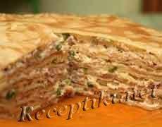 Блинчатый пирог с грибной начинкой